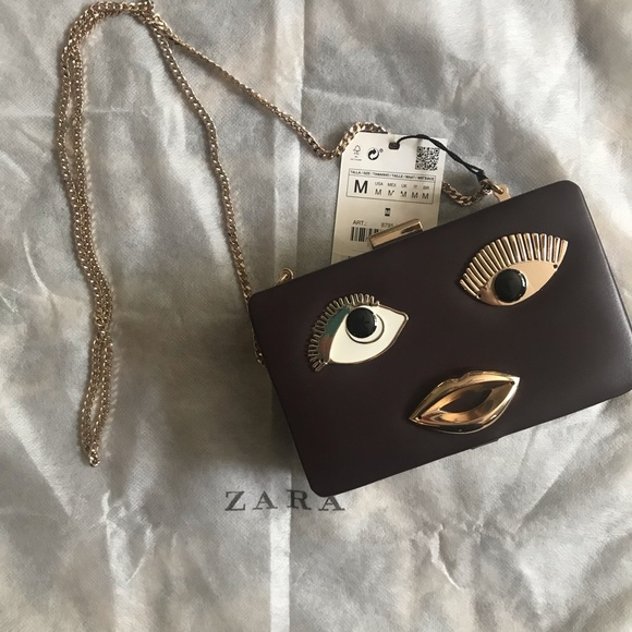 Zara Handbags - Zara | Funky Artsy Chain Box Clutch